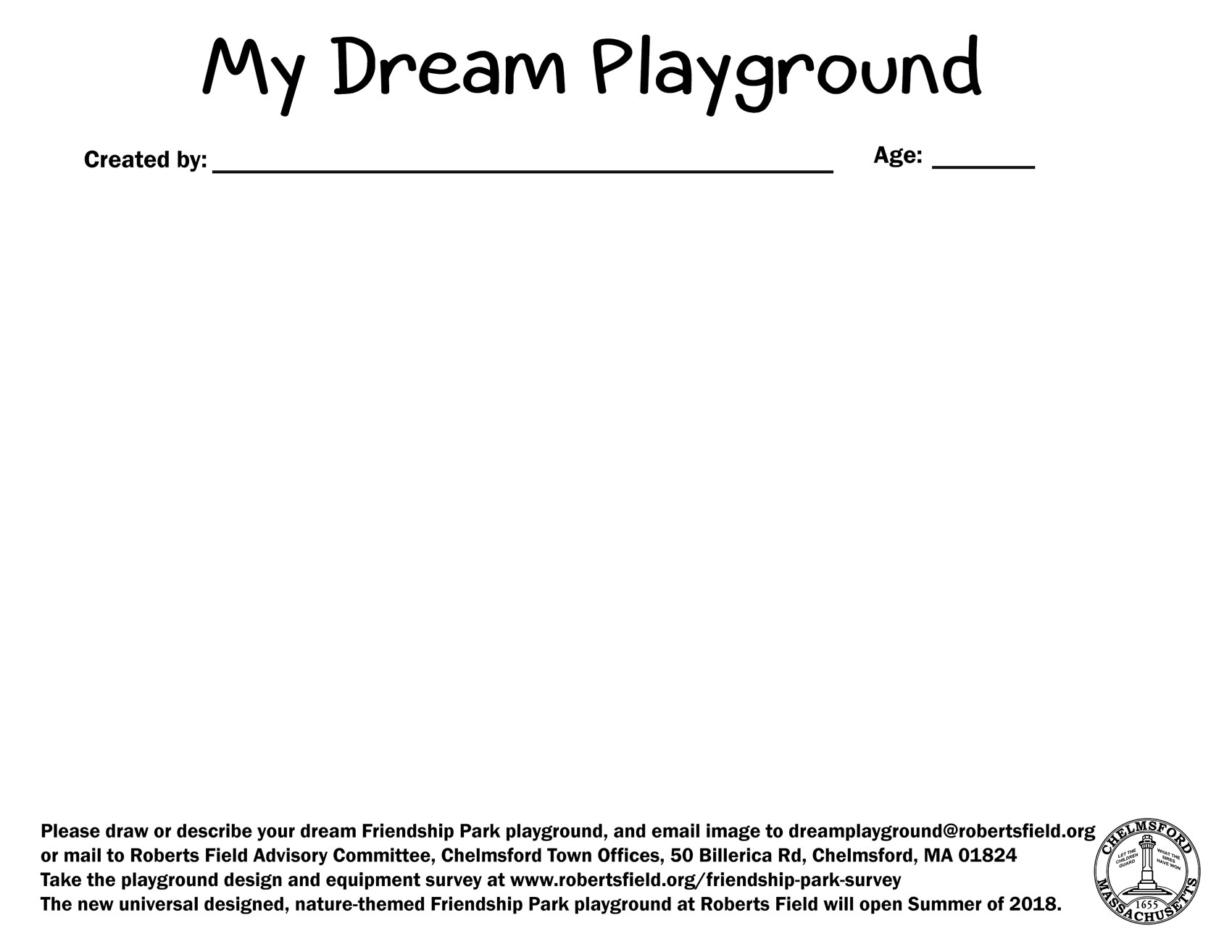 My Dream Playground Worksheet – Roberts Field in Chelmsford, MA